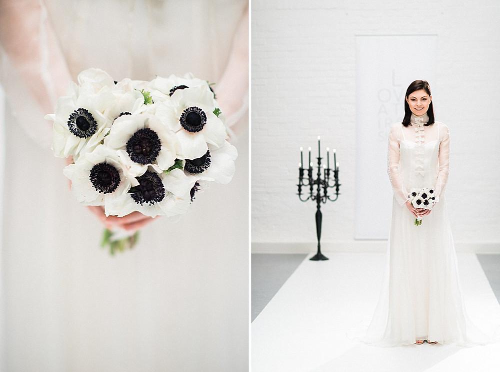 Brautstrauß in schwarz-weiß zum Brautkleid des spanischen Labels Immaculada Garcia