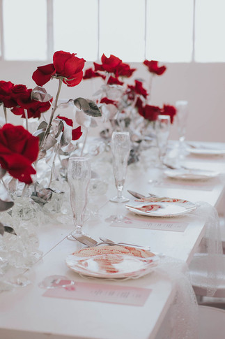 Tischdeko weiß rot