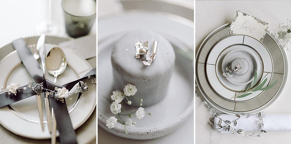 Fine Art Wedding in Grau 2021 Ultimate Grey monochrome Tischdeko