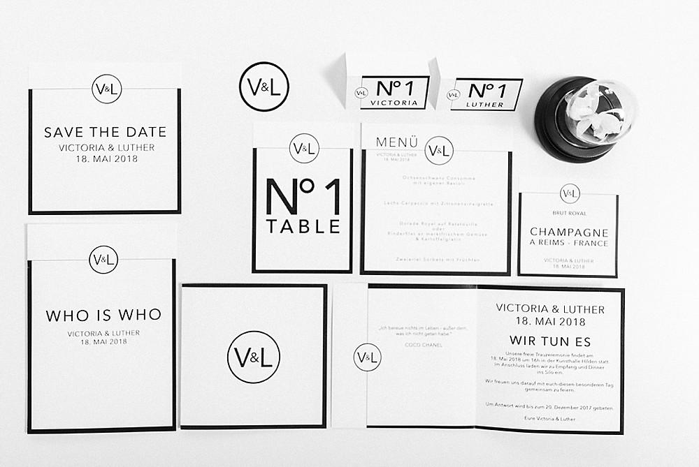 Papeterie im Chanel Stil schwarz und weiß