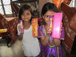Children with their gifts