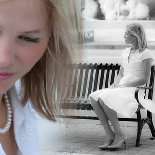 Girl on bench portrait by Darleen Prem