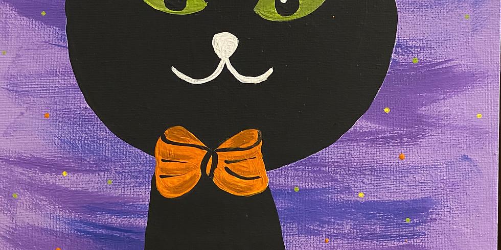 Children's Painting Class: Black Cat