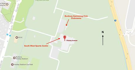 Map of Bunbury Swimming Club Clubrooms