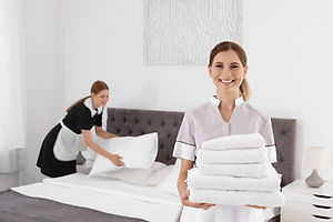 Professional chambermaid holding pile of