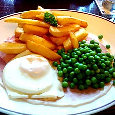 HAM, EGG AND CHIPS WITH PEAS OR BEANS