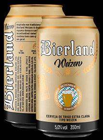 Bierland Weizen lata 350 ml frente e verso.