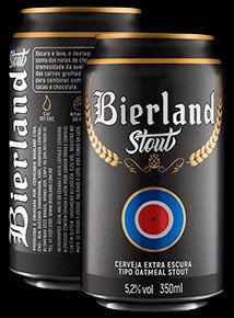 Bierland Stout lata 350 ml frente e verso.