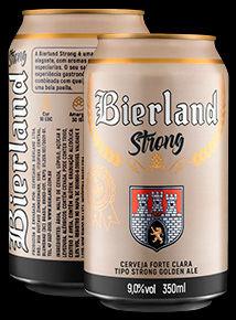 Bierland Strong lata 350 ml frente e verso.