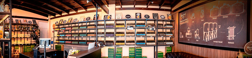 Imagem panorâmica interna da loja de fábrica.