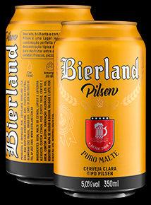 Bierland Pilsen lata 350 ml frente e verso.