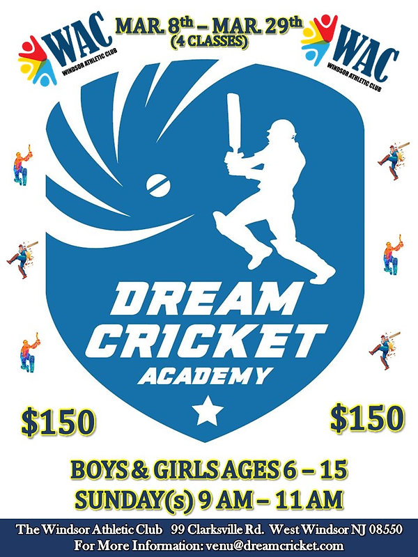 Dream Cricket Academy Flyer & Registrati