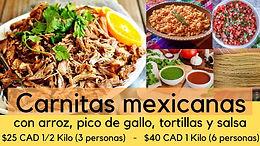 1/2 Kilo (para 3 personas) de Carnitas Mexicanas, arroz, pico de gallo, tortillas y salsa