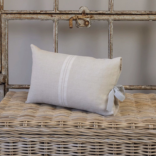 Linen Cushion Cover with Sage Velvet Bow