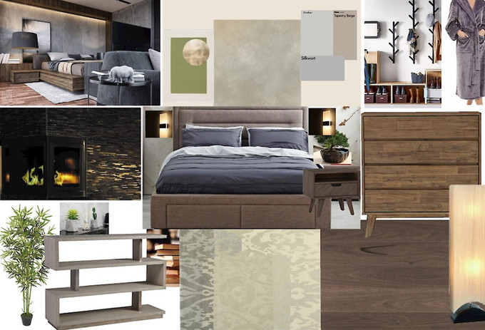 Contemporary Organic Bedroom Mood Board Blackwood