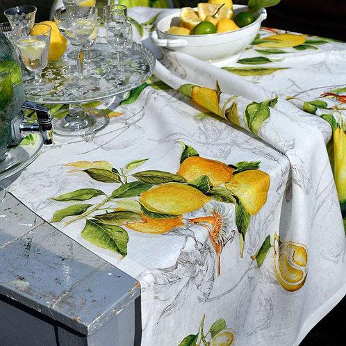 Italian Linen Tablecloth Lemons- Rectangle 10 Seater