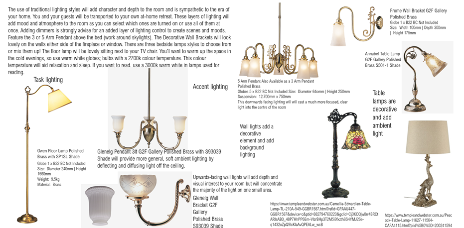 Traditional Lighting Moodboard St Peters
