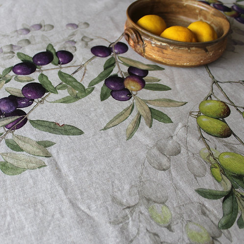 Italian Linen Tablecloth Olives- Rectangle 10 Seater