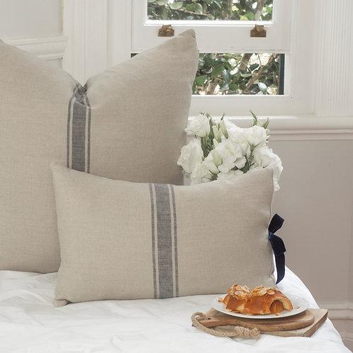 Linen Cushion Cover with Navy Velvet Bow