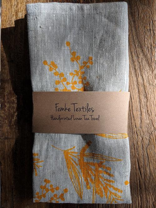 Linen Tea Towel- Mixed Wattle Print- Colour Wattle Yellow