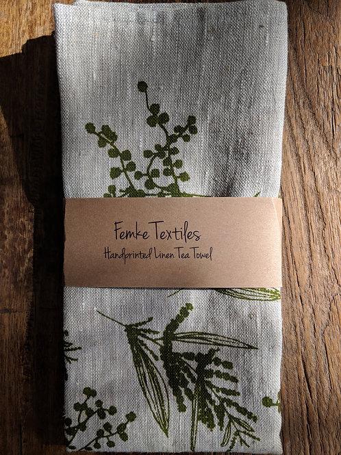 Linen Tea Towel- Mixed Wattle Print- Colour Moss