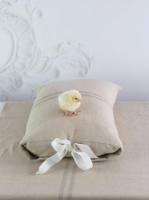 Linen Cushion Cover with White Velvet Bow