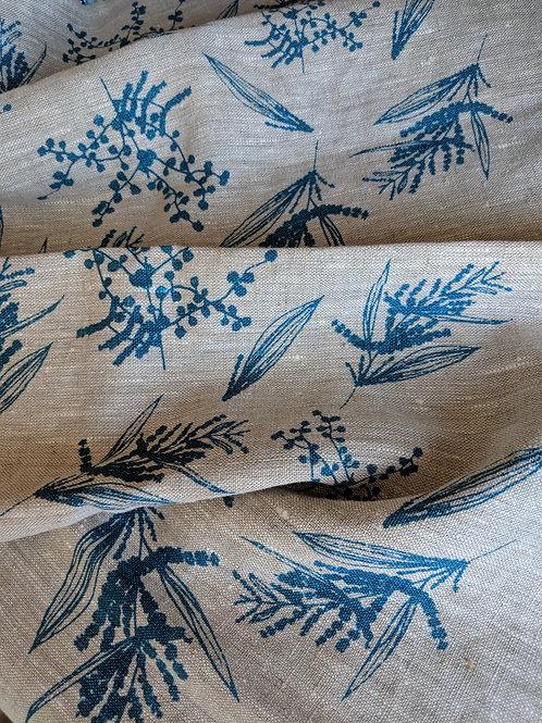 Linen Tea Towel- Mixed Wattle Print- Colour Sea Blue