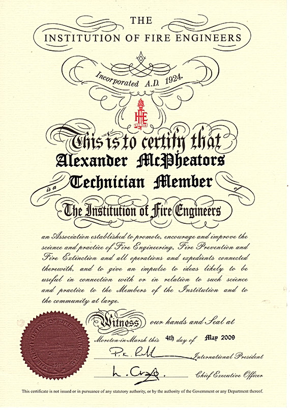 Institution of Fire Engineers maintained register of fire risk assessors Scotland