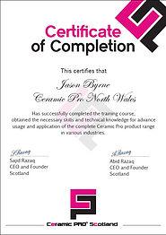 Jason Byrne's Certificate