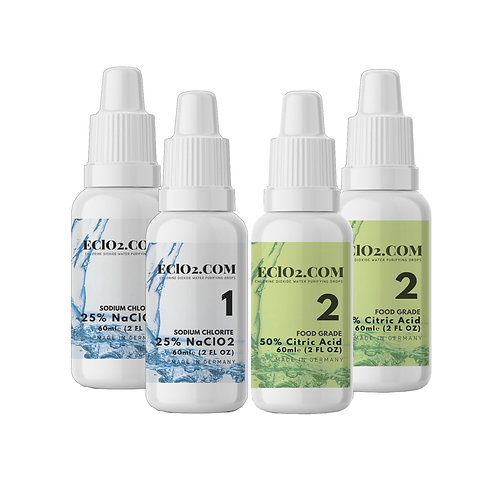 Travel Size Pack: Chlorine Dioxide Drops + Citric Acid - Multi-pack