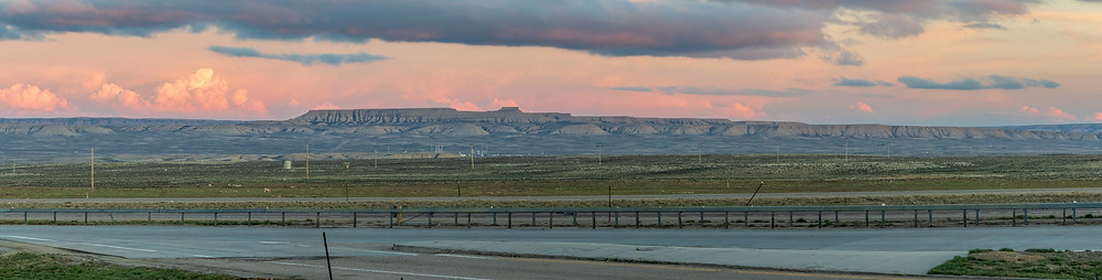 Sunrise along a Wyoming Highway