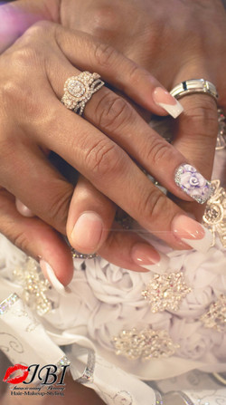 closeup bride and groom rings