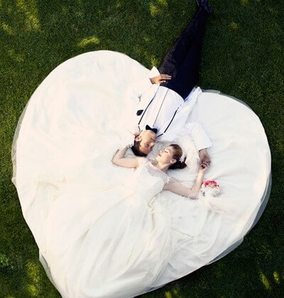 aereal bride and groom photography