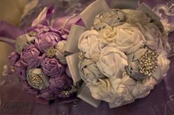 closeup on purple and jewel bouquets