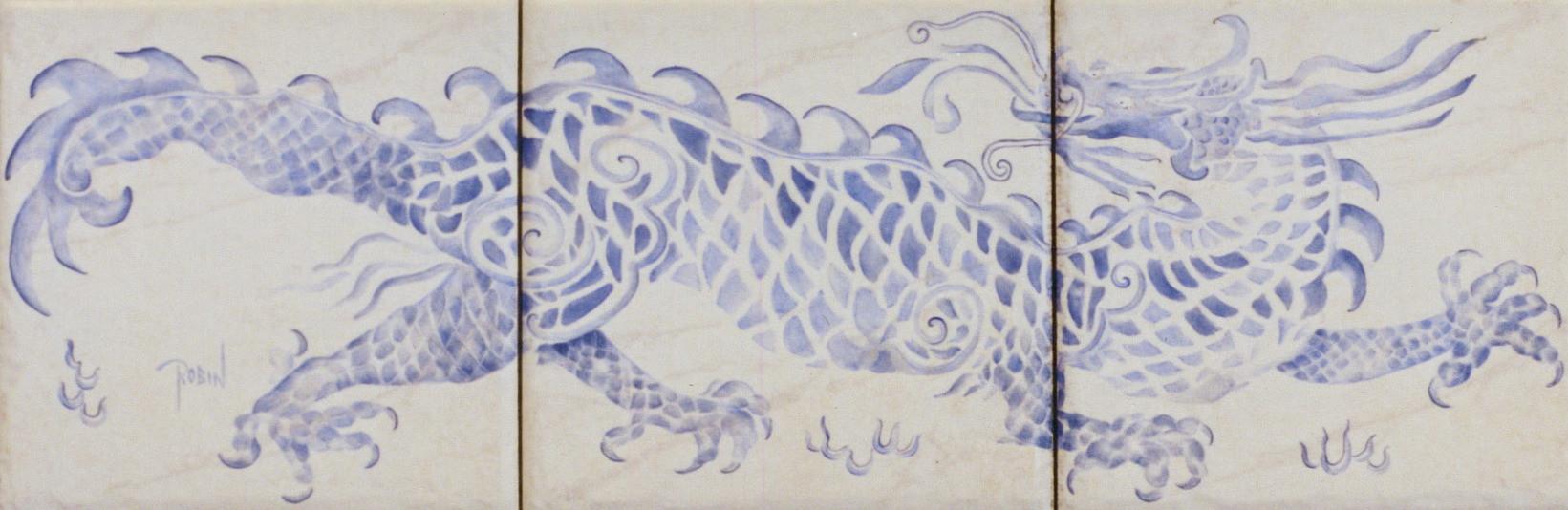 Oriental Dragon Across Three Tiles