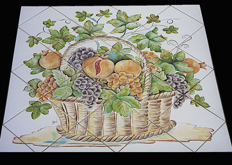 Wine Grapes and Pomegrante Tile Mural