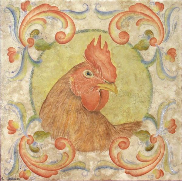 Folk Art Chicken Tile