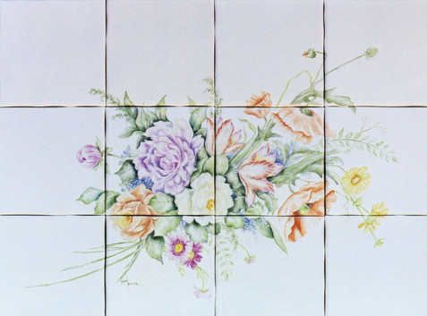 Bouquet of Flowers Tile Mural Installed