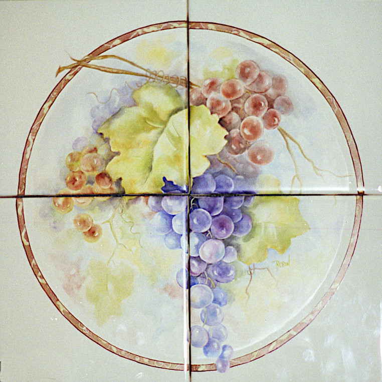 Bunch of Grapes in Faux Marble Circle Tile Mural