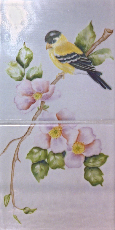Goldfinch on Apple Blossom Branch Tiles