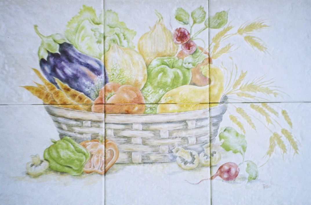 A Basket Overflowing with Produce Tile Mural