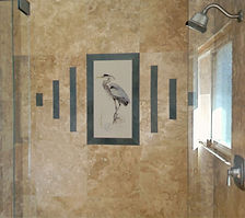 Great Blue Heron installed in bathroom