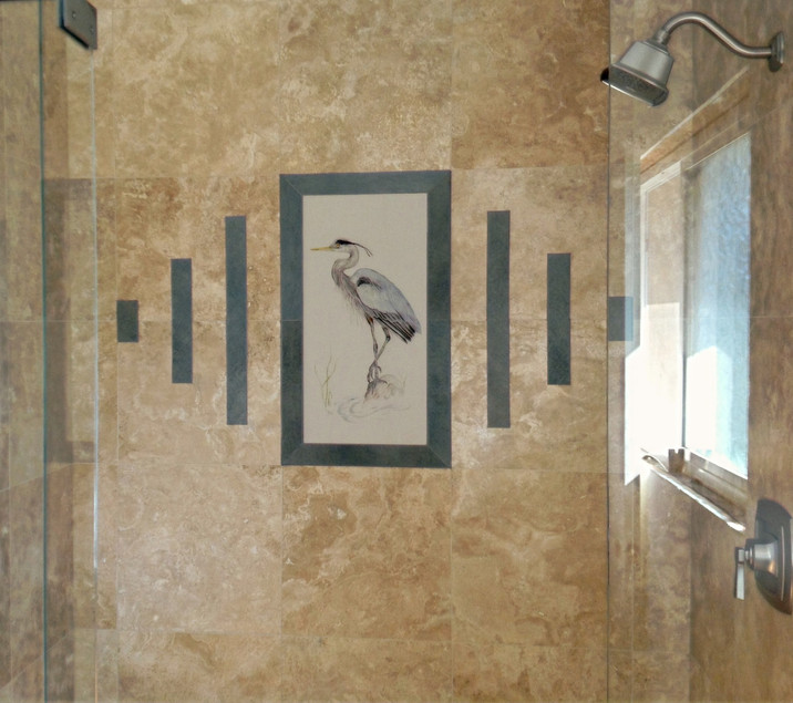 Great Blue Heron Installed in Bathroom