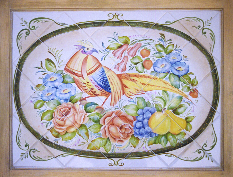 Pheasant with Flowers and Fruit Tile Mural