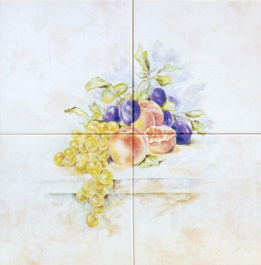 Fruit Still Life on Stone Ledge Tile Mural