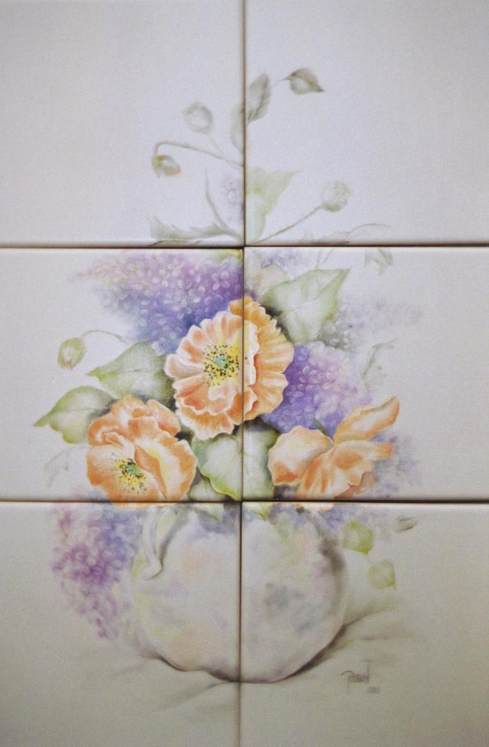 Poppy & Lilac Still Life Tile Mural