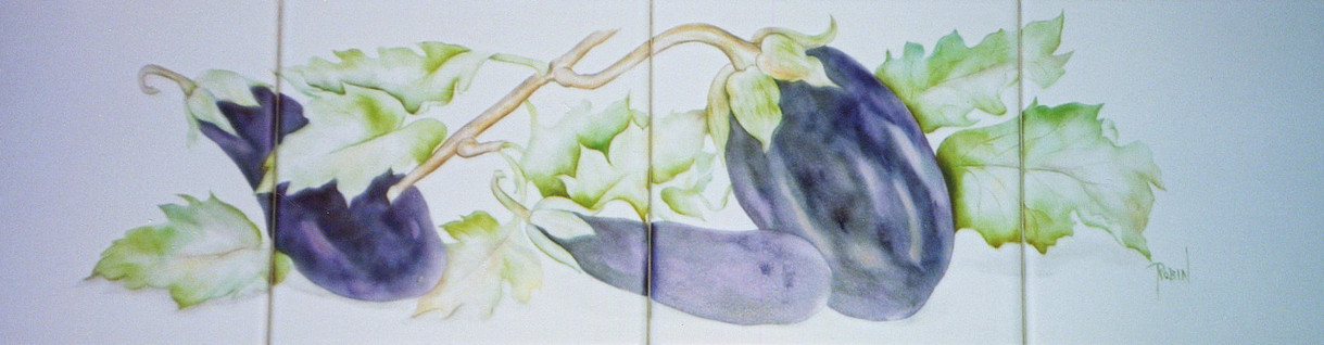 Four Tile Eggplant Mural