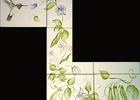 Hummingbird with Sweet Pea Tile Mural