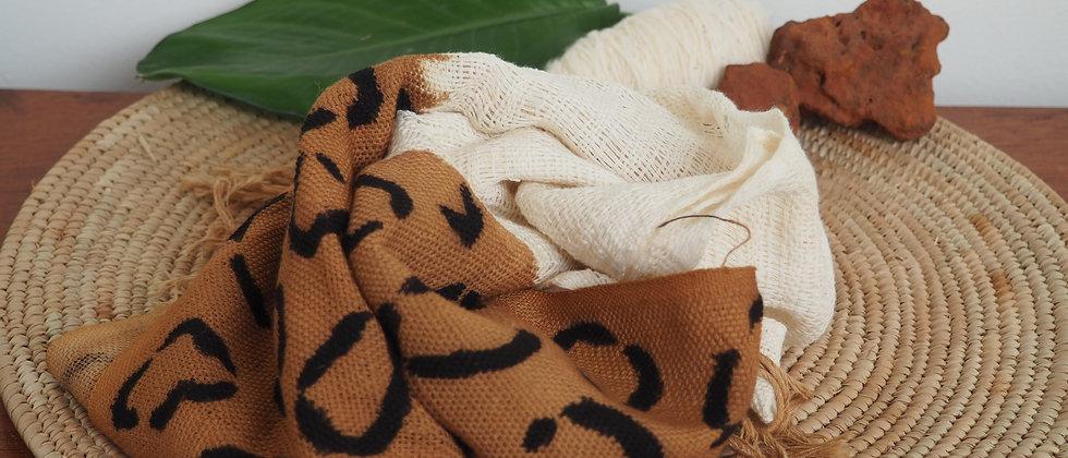 Etole en coton  caramel Léopard empreinte noire