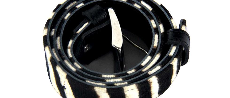 Ceinture motif  zèbre noir, bogolan du Mali et cuir véritable.